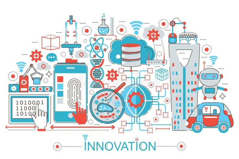 Modern plan tunn linje designinnovationbegrepp för rengöringsdukbanerwebsite, presentation, reklamblad och affisch royaltyfri illustrationer