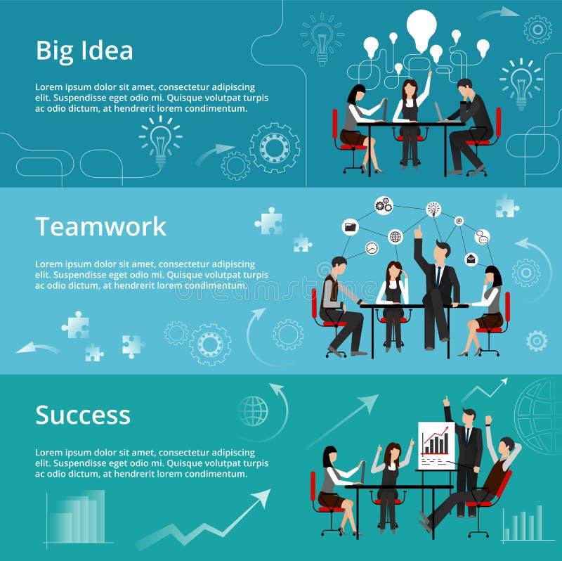 Modern plan tunn linje designvektorillustration, begrepp av den idérika stora idén, teamworkprocess och framgång i affär royaltyfri illustrationer