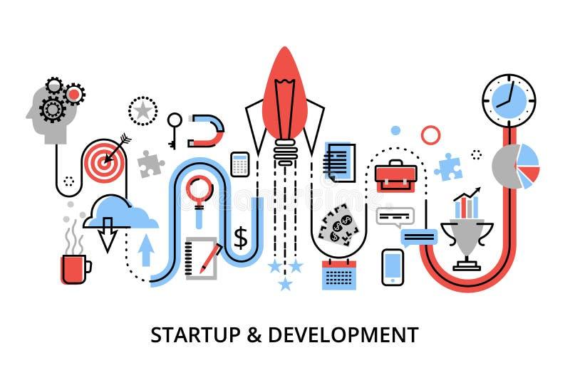 Modern plan tunn linje designvektorillustration, begrepp av det startup projektet, affärsstrategi och innovationutveckling royaltyfri illustrationer