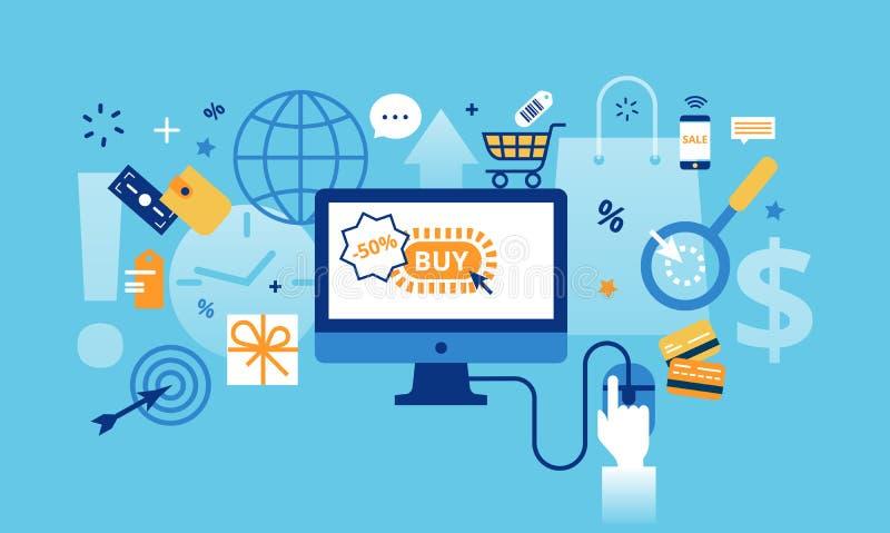 Modern plan tunn linje designvektorillustration, begrepp av online-shopping, internetförsäljningar med detaljhandel och kommersbe vektor illustrationer