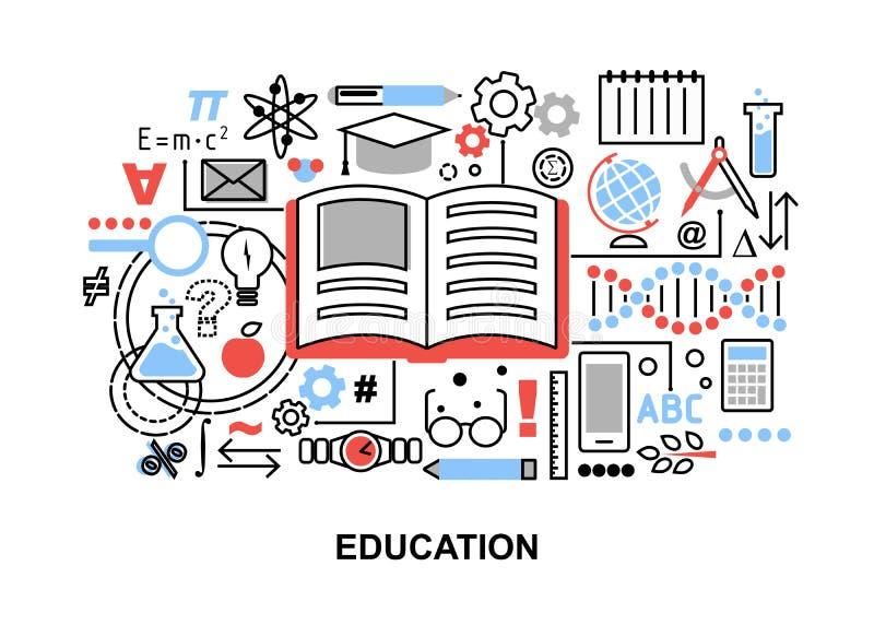 Modern plan tunn linje designvektorillustration, begrepp av utbildningsprocessen och att lära i utbildningsinstitution och objekt stock illustrationer
