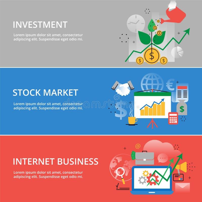 Modern plan tunn linje designvektorillustration, infographic begrepp av den investeringprocess-, aktiemarknad- och internetaffäre royaltyfri illustrationer