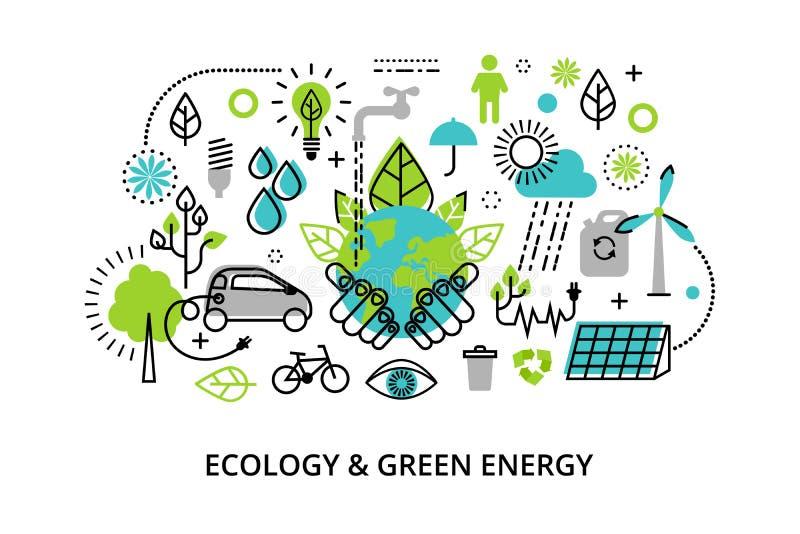 Modern plan tunn linje designvektorillustration, infographic begrepp av grön energi för för för ekologiproblem, utveckling och be royaltyfri illustrationer