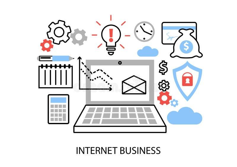 Modern plan tunn linje designvektorillustration, infographic begrepp av internetaffären, online-betalningar och köp vektor illustrationer