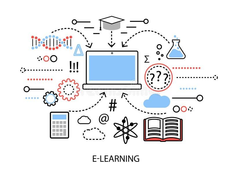 Modern plan tunn linje designvektorillustration, infographic begrepp av internetlärande processen och datatekniker i st stock illustrationer