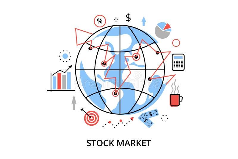 Modern plan tunn linje designvektorillustration, infographic begrepp med symboler av aktiemarknadprocessen och säkerhetshandel royaltyfri illustrationer