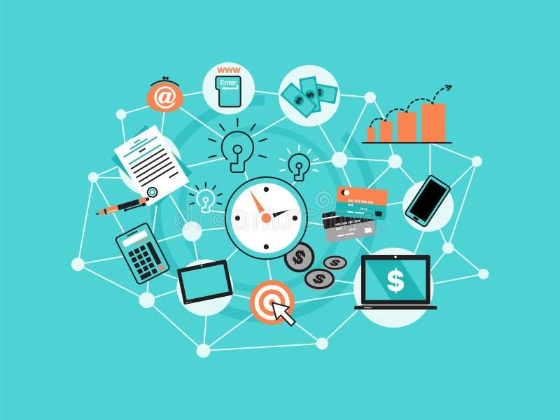 Modern plan tunn linje designvektorillustration, infographic begrepp med symboler av online-affären, internetmarknadsföringsidé,  vektor illustrationer