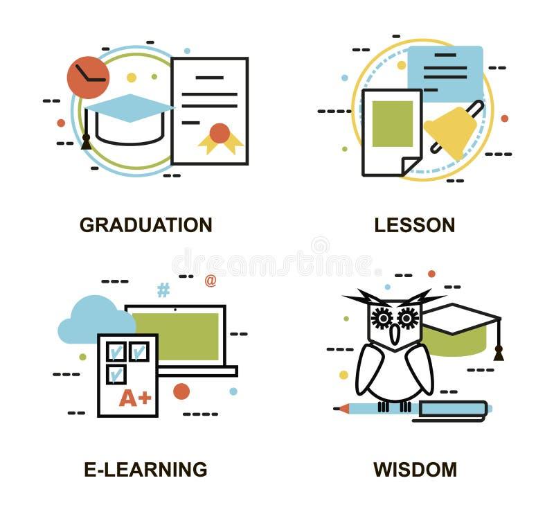 Modern plan tunn linje designvektorillustration, uppsättning av utbildningsbegrepp, gradution, skolakurs som e-lär process stock illustrationer