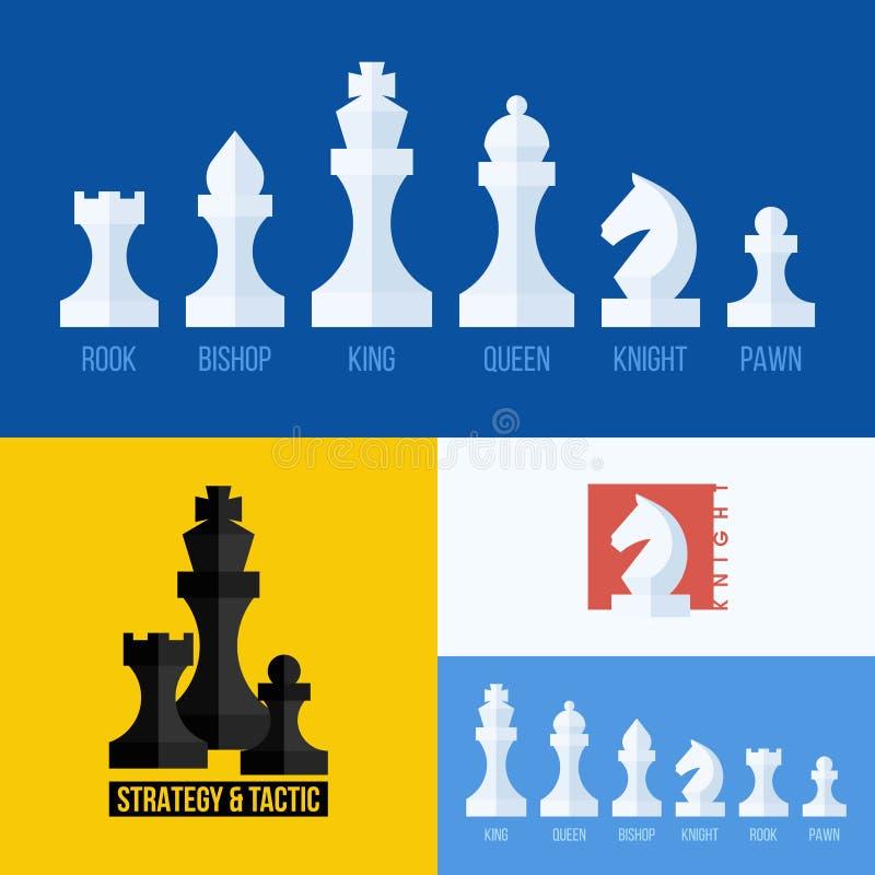 Modern plan vektoruppsättning av schacksymboler battle dawn royaltyfri illustrationer