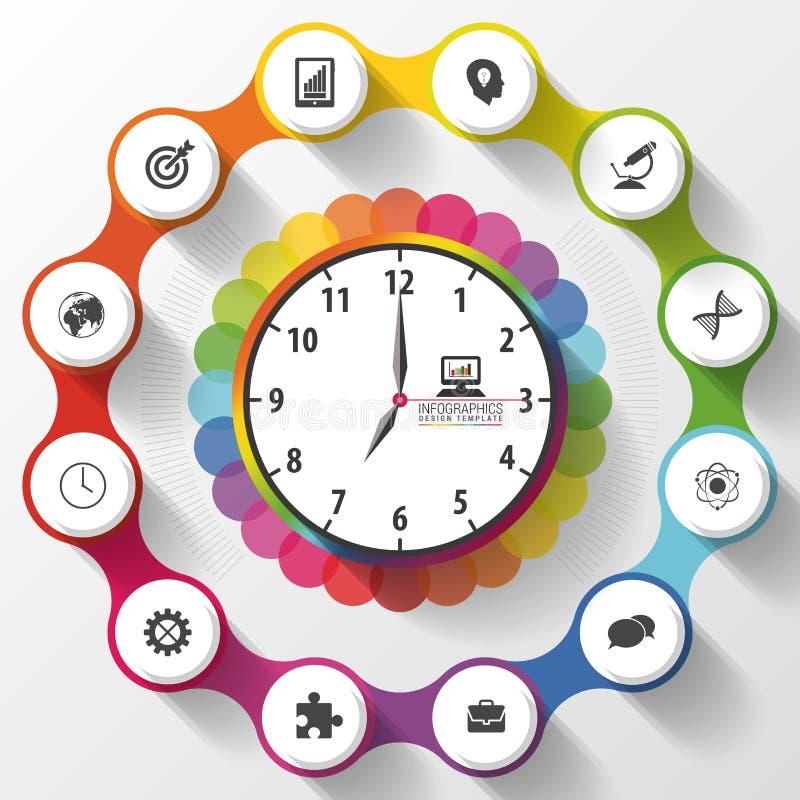 Modern planläggning för arbetstidledning Färgrika Infographics också vektor för coreldrawillustration vektor illustrationer