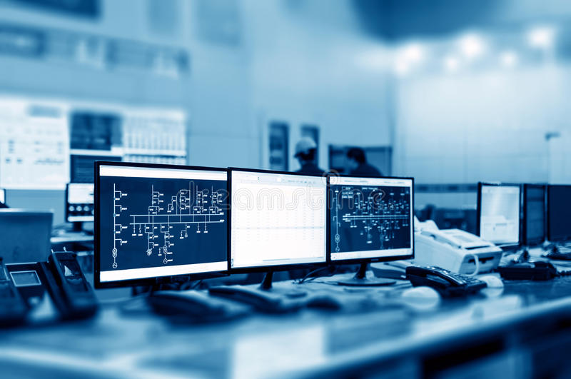 Modern plant control room royalty free stock photography