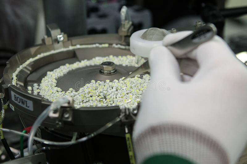 Modern plant for the production of super-bright LED components stock photo
