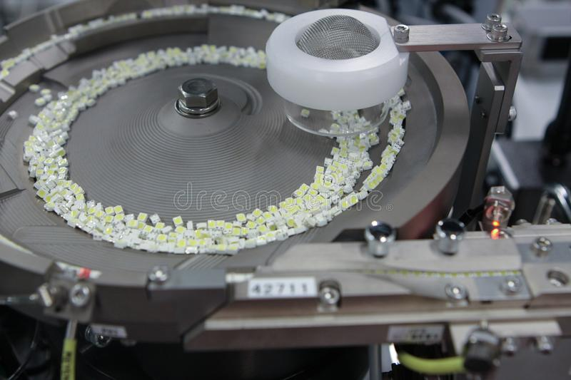 Modern plant for the production of super-bright LED components stock images