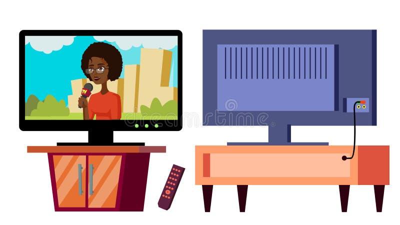Modern Plasma TV Vector. Full HD 4k Screen. Isolated Home Television Display Flat Cartoon Illustration stock illustration