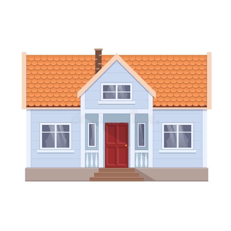 Modern plattelandshuisje, vooraanzicht, privé buitenhuis, huis in de stad, woningbouw royalty-vrije illustratie