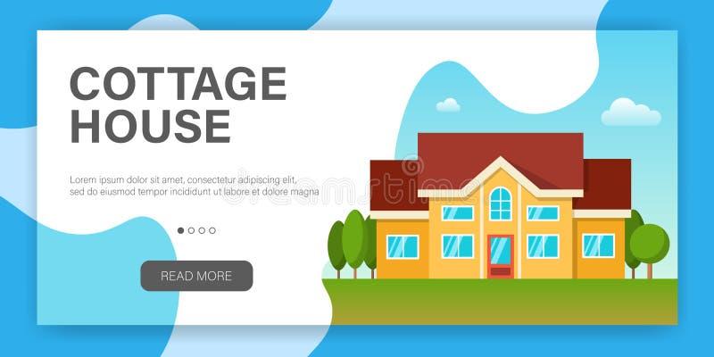 Modern plattelandshuisjehuis Web-pagina ontwerpmalplaatje stock illustratie