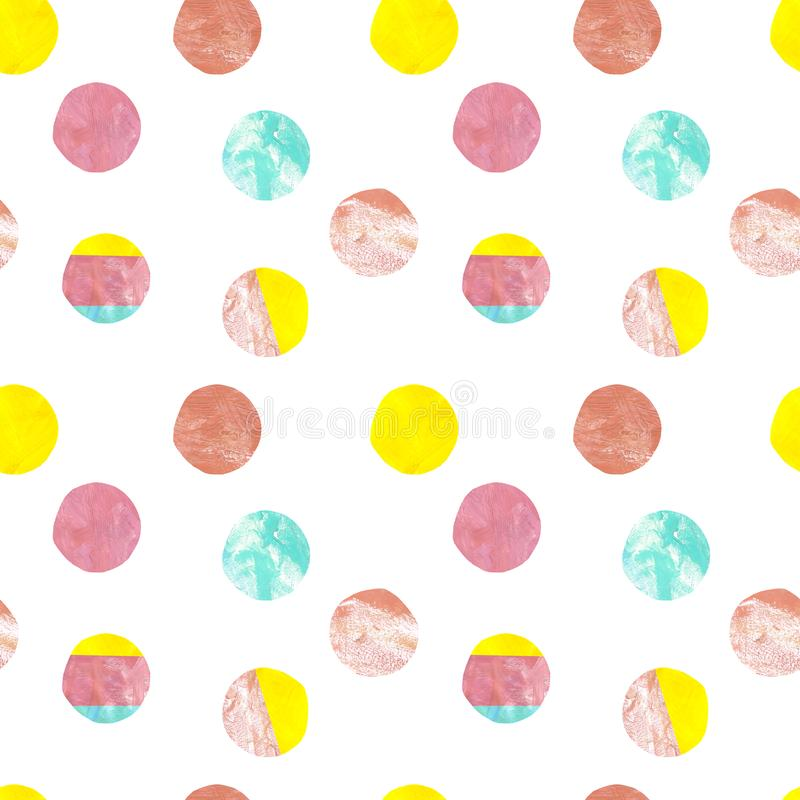 Modern polka dot seamless pattern. Pastel colors hand painted dots on white background. Colorful surface royalty free illustration