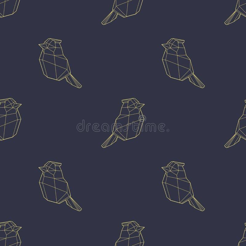 Modern polygonal abstrakt geometrisk guld- fågel på mörkt - sömlös modell för blå bakgrund royaltyfri illustrationer