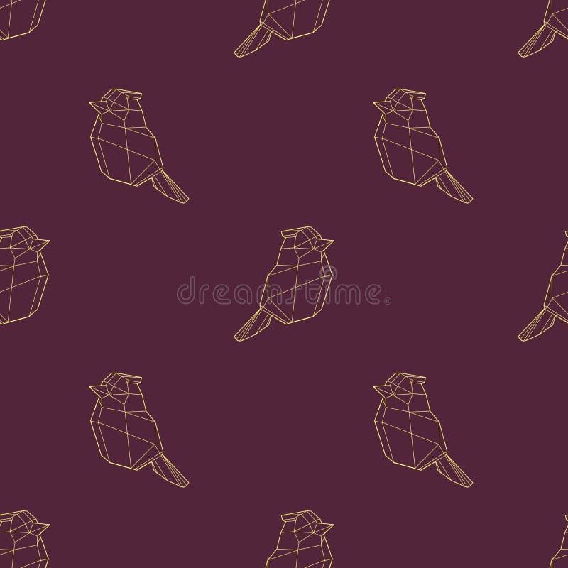 Modern polygonal abstrakt geometrisk guld- fågel på mörkt - sömlös modell för röd bakgrund stock illustrationer