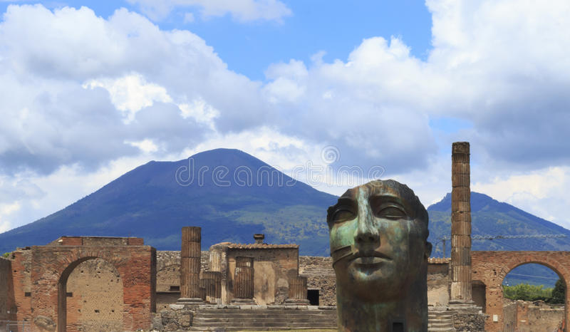 Modern Pompeii Art with Mount Vesuvius. Modern art amidst the ruins of Pompeii in Italy with Mount Vesuvius in the background stock images