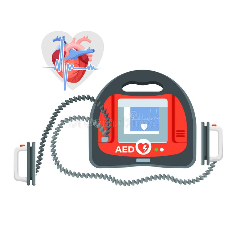Modern portable defibrillator with small screen and heart illustration vector illustration