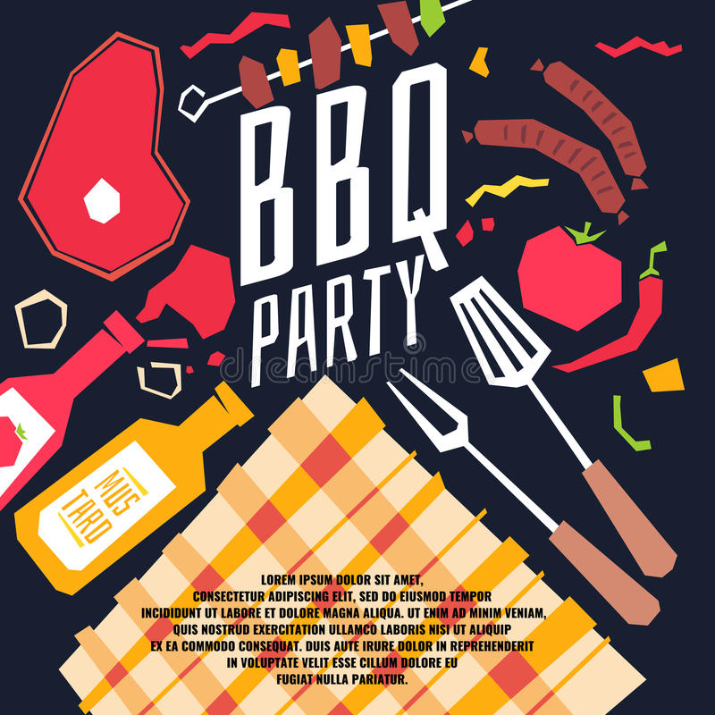 Modern poster BBQ party with a checkered tablecloth, barbecue, vegetables. And ketchup. Vector illustration in flat cartoon style stock illustration
