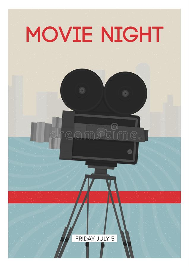 Modern poster or flyer template for movie night, premiere or cinema festival show time with retro film camera or vector illustration