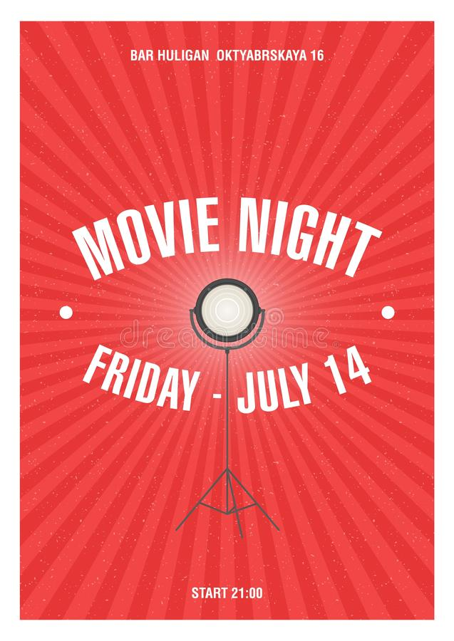 Modern poster, placard or invitation template for movie night or motion picture demonstration with glowing spotlight stock illustration
