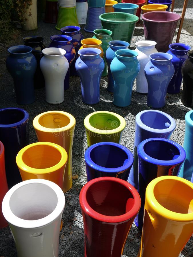 Download Modern Pottery: Colorful Tall Ceramic Planters Stock Photo - Image: 28329396