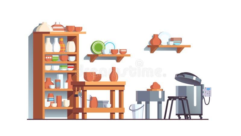 Modern pottery workshop with ceramic pots, bowls royalty free illustration