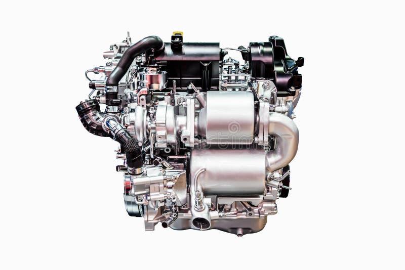 Modern powerful car engine isolated on white stock image