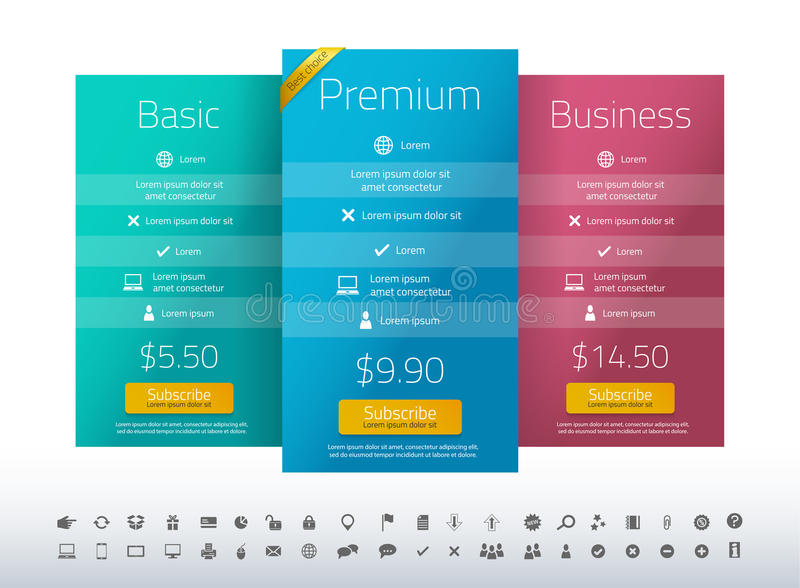 Modern pricing list with 3 options in turquoise, b vector illustration