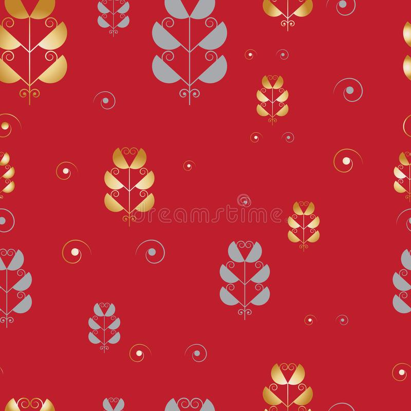 Modern print with Japanese floral motifs. Seamless vector pattern with palm leaves and abstract flowers. vector illustration
