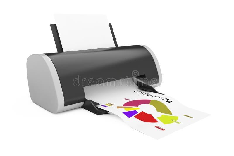 Modern Printer Print Investment Chart. 3d Rendering. Modern Printer Print Investment Chart on a white background. 3d Rendering royalty free illustration