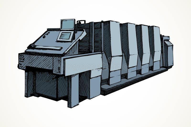 Modern printing press.Vector sketch stock illustration