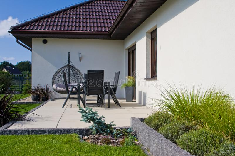 Modern private house terrace design in summer stock image