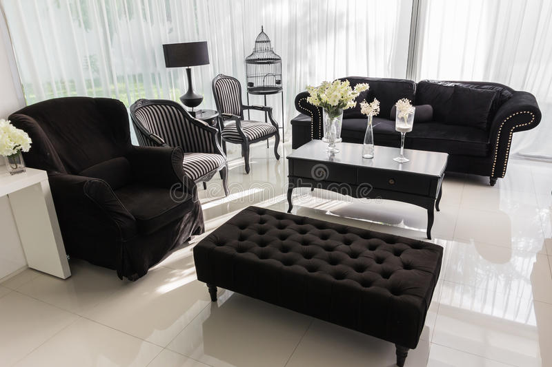 Modern private living room with copy space for your own images.  stock image