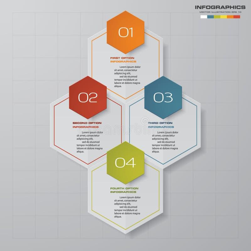 Modern process för 4 moment Beståndsdel för Simple&Editable abstrakt begreppdesign royaltyfri illustrationer