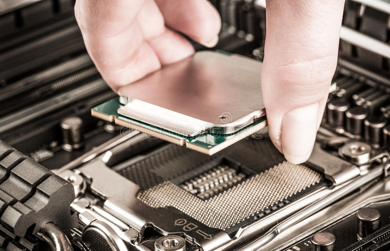 Modern processor and motherboard. For a home computer stock photography