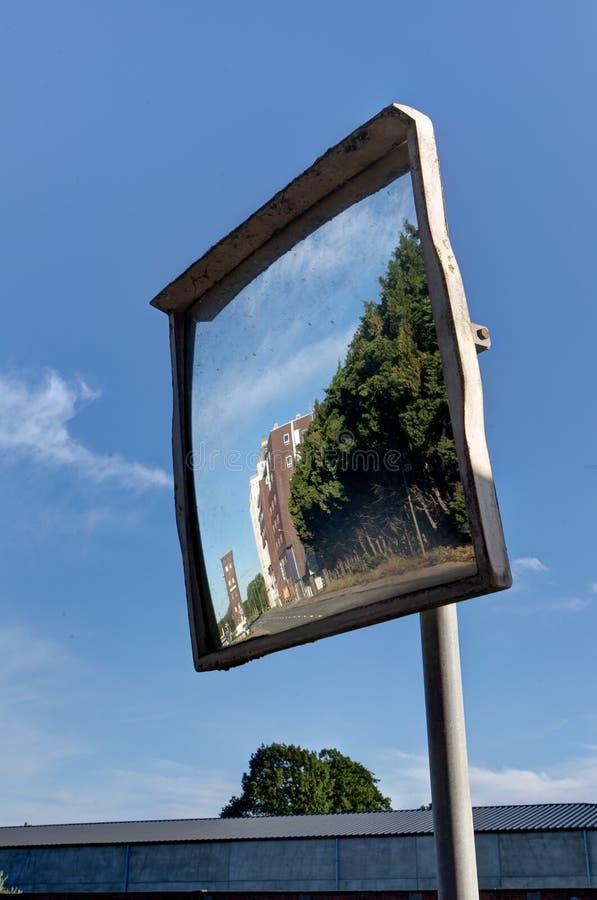 Convex mirror, modernist factory, Wijgmaal, Leuven, Belgium royalty free stock image