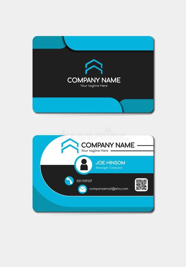 Modern professional blue business card design, visiting card template design business card template royalty free illustration