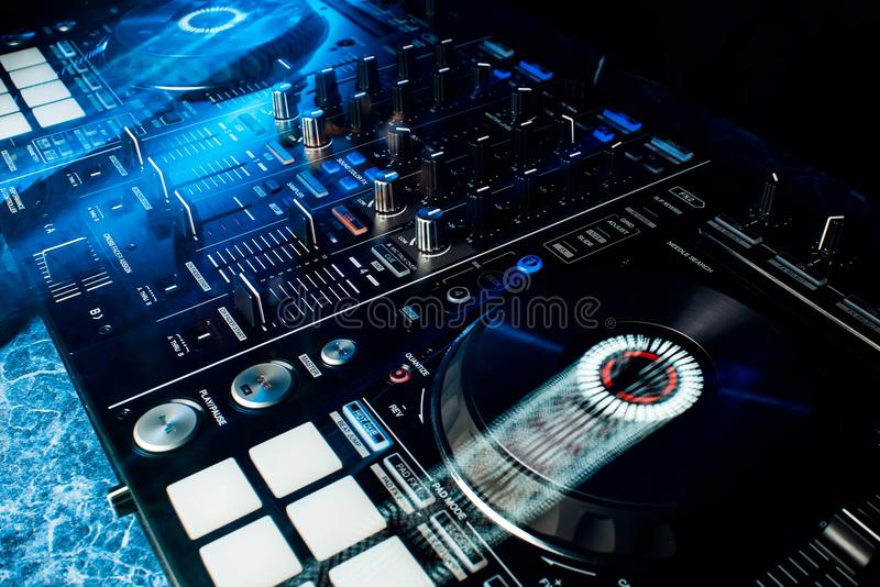 Modern professional equipment for DJ to mix music stock image