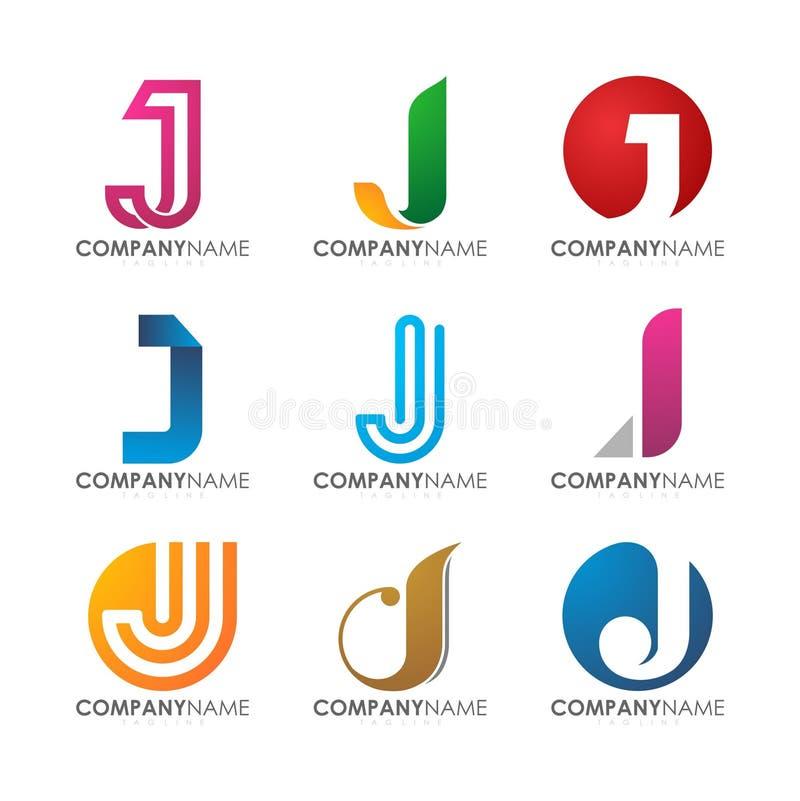 Modern professional J logo design for company logo set stock illustration