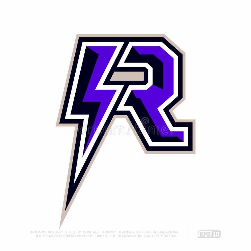 Modern professional letter emblem for sport teams. R letter stock photos