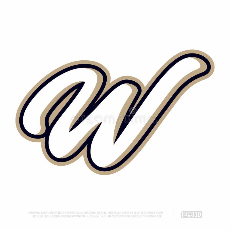 Modern professional letter emblem for sport teams. W letter stock images