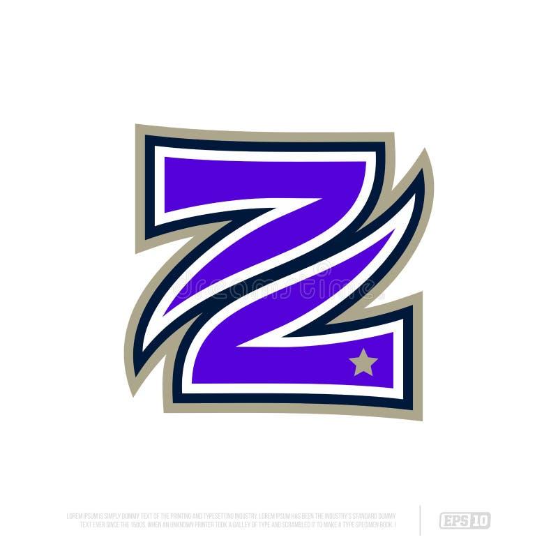 Modern professional letter emblem for sport teams. Z letter royalty free stock image