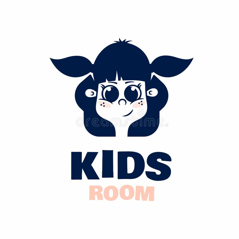 Modern professional logo kids room in blue theme stock illustration