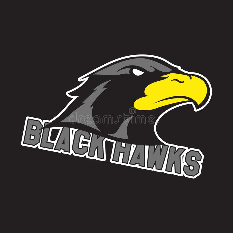 Modern professional logo for sport team. Black hawk mascot. Hawks, vector symbol on a dark background. stock illustration