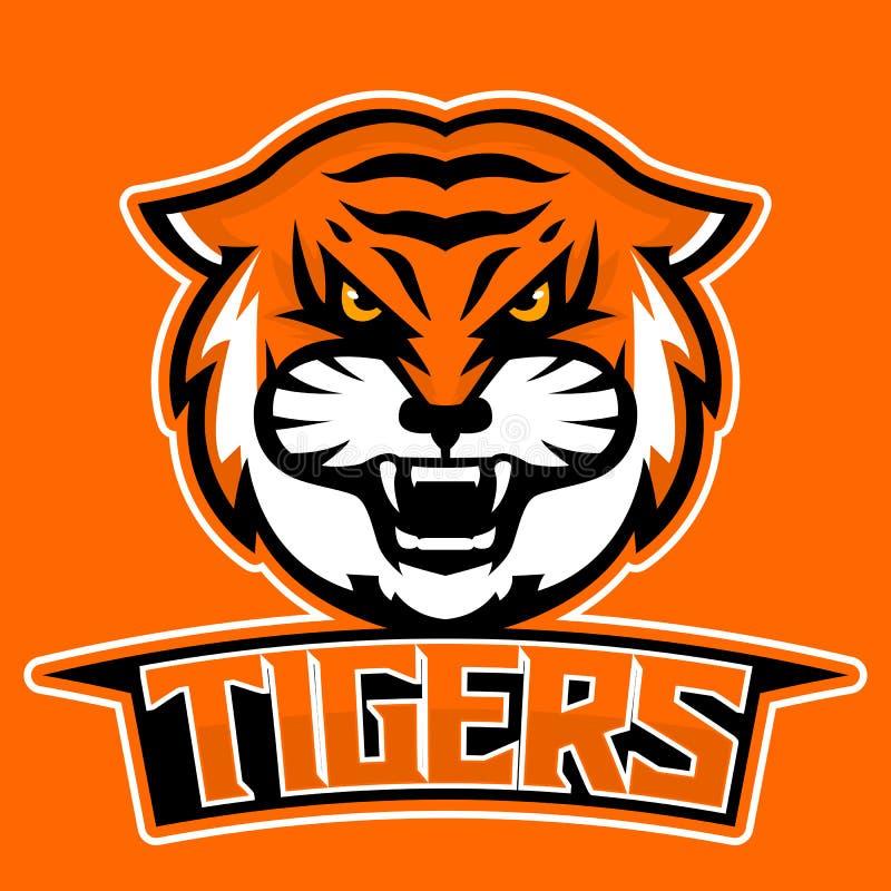 Modern professional logo for sport team. Tiger mascot. Tigers, vector symbol on a dark background. stock illustration