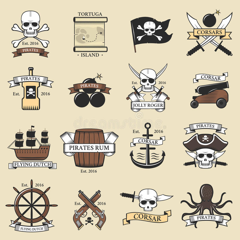 Download Modern Professional Pirate Logo Marine Badges Nautical Sword Old Skeleton Banner Template And Skull Roger